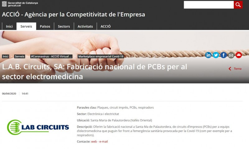 Lab Circuits collabore sur le Marketplace empresarial Covid-19 d'ACCIÓ à la fabrication de PCBs.