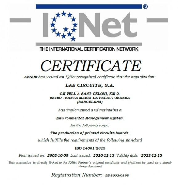 Renovación ISO 14001:2015